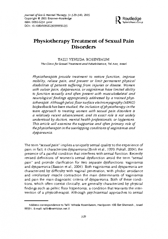 Physiotherapy Treatment of Sexual Pain Disorders