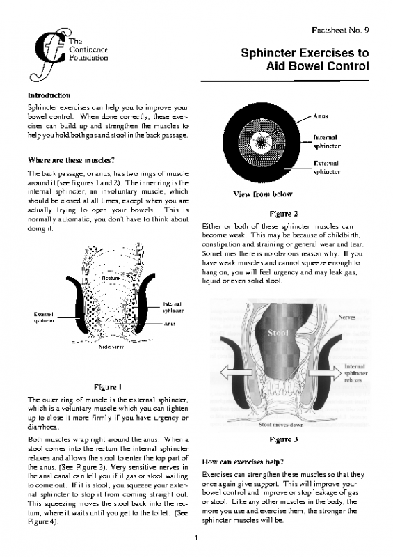 Sphincter Exercises to aid bowel control