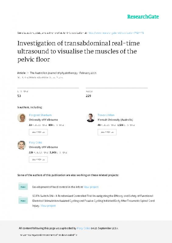 Transabdominal PF assessment US paper Sherburn Allen Galea