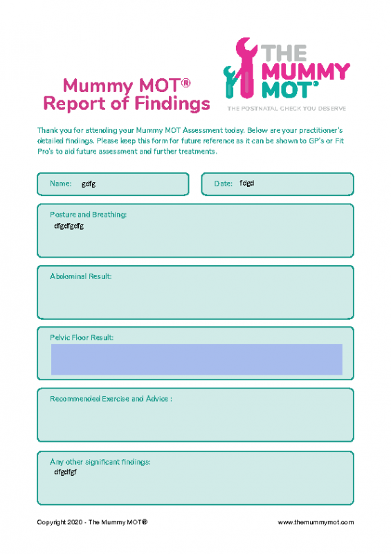 Mummy MOT® Report of Findings (Editable)